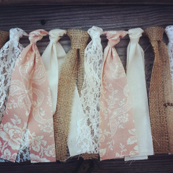 Pure Innocence - Cottage Pink, Burlap & Lace Rag Tie Garland. $25.00, via Etsy.