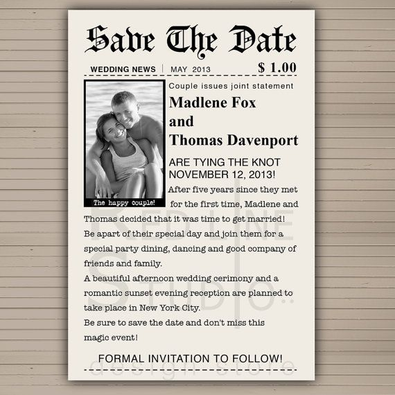 Save the date card news paper theme PRINTABLE by redlinecs