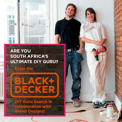 How'd you like to win an awesome R12,000 BLACK+DECKER hamper? Enter our annual DIY competition...  How to enter: 1) Use power tools to enhance your home, upcycle an object, or create something unique that reflects the Responsible Living theme. Take pics along the way! 2) Post your pictures to our Facebook page (www.facebook.com/GrandDesignsSA), using the hashtag ‪#‎BlackDeckerDIY‬  3) Email your pictures to diygurusearch@media-ten.co.za