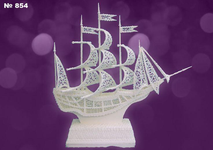 Sail ship in royal icing