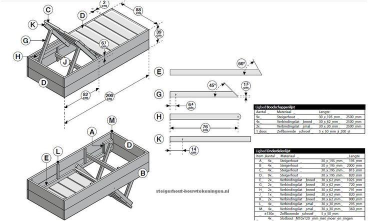 Ligbed annex tuinbed van steigerhout, een gratis bouwtekening van Cando steigerplanken uit de Gamma.