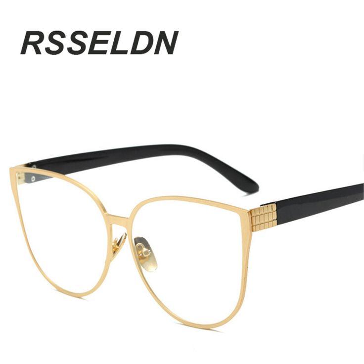 RSSELDN Cat Eye Eyewear Frames Men Clear Lens Glasses Frame Female Hipster Vintage Spectacle Frame Big Eyeglasses Women Brand