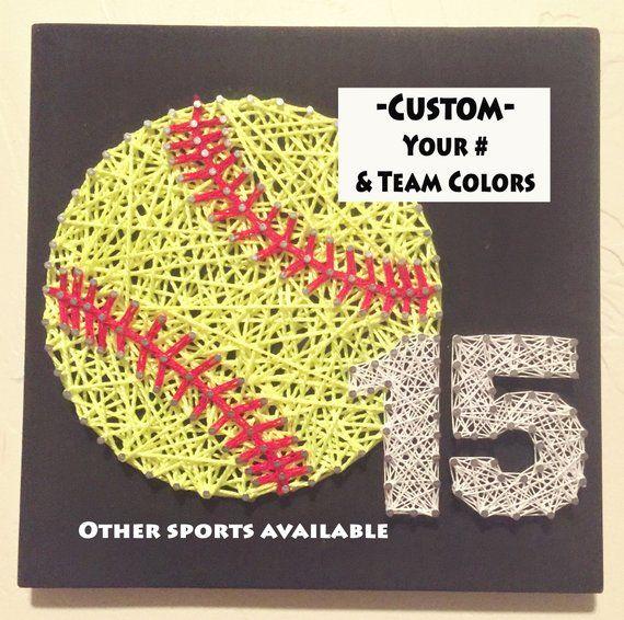 String Art. Softball Gifts. Softball. Softball Mom. Sports Decor. Graduation Gift. Sports Memorabilia. High School Graduation Gift