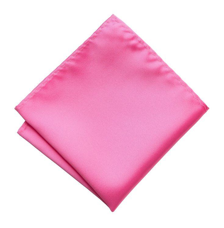Hot Pink Pocket Square. Solid Color Satin Finish, No Print