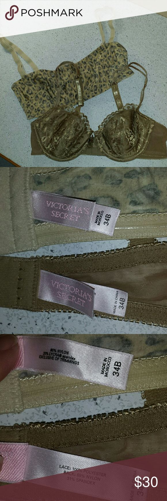 2 Victoria's Secret sz 34B EUC underwire bras Excellent condition!  Beigey brown bra is lightly lined, adjustable straps, pretty lace and strap detail. Back has 2 hooks. Animal print is a bandeau with removable adjustable straps, and it has the elastic strips top and bottom to help keep it in place. Unlined underwire, back has 3 hooks Victoria's Secret Intimates & Sleepwear Bras