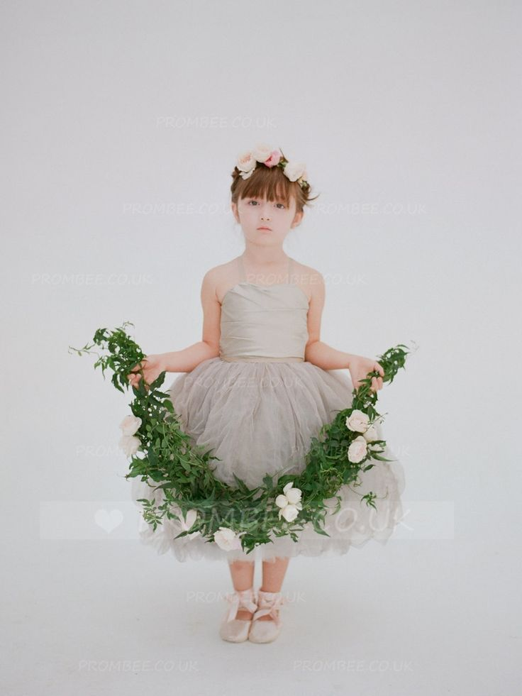 Ball-Gown Halter Tea-Length Tulle Flower Girl Dress With Ruched Bodice #wedding #weddingphotography #weddinghairstyles #weddingflowers