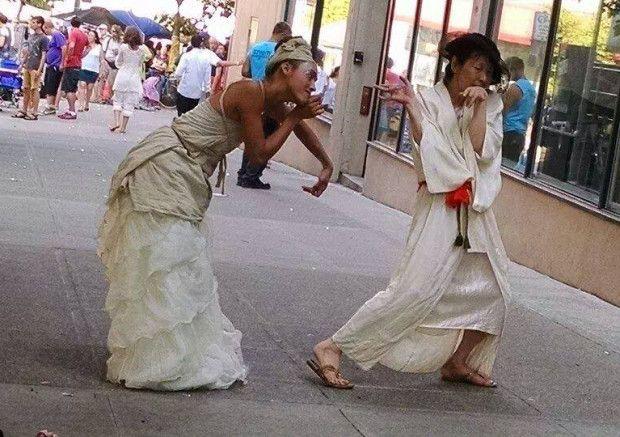 Art of the City Street Fest 2015 INDIEGOGO Campaign, photo from Galaanza II performance 2014, Katrina Wolfe (left) & Kaoru Okumura (Right)