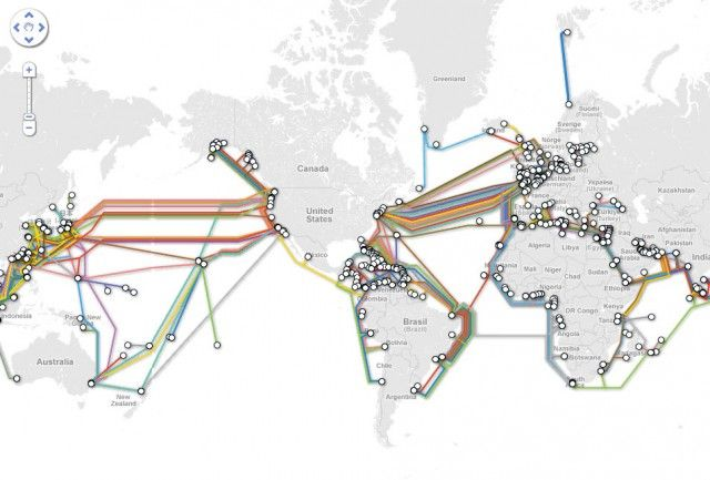 Internet submarine cable map