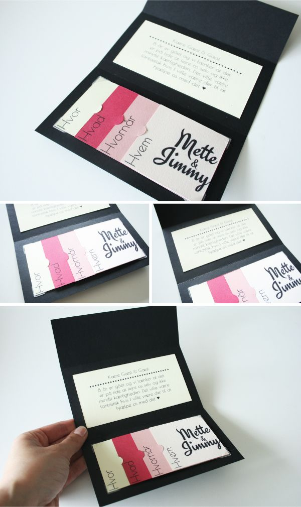 Invitation DIY guide, færdig invitationhttp://www.toomuchtulle.dk/do-it-yourself/mine-diy-projekter/2012/07/04/invitation-med-smaa-kort