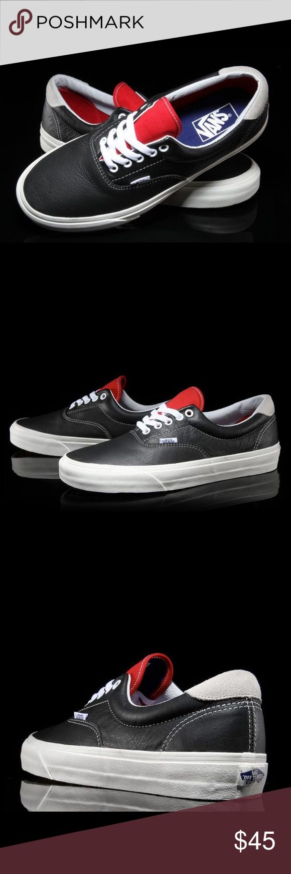 Vans Era 59 Black/Racing Red Vintage Sport Vans looks ahead to the warmer season with a trio of new colorways for the Era 59 Vintage silhouette. The iconic low-top is reworked in premium leather across its upper with contrasting touches of suede and canvas along the heel and tongue. Finished off with a crisp vulcanized sole, pick up the white, red and black colorways. The shoes pictured here are the exact pair for sale. Vans Shoes Sneakers