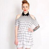 Motel Black & White Sahara 14 Cut Out Shoulder Dress www.rokii.co.uk