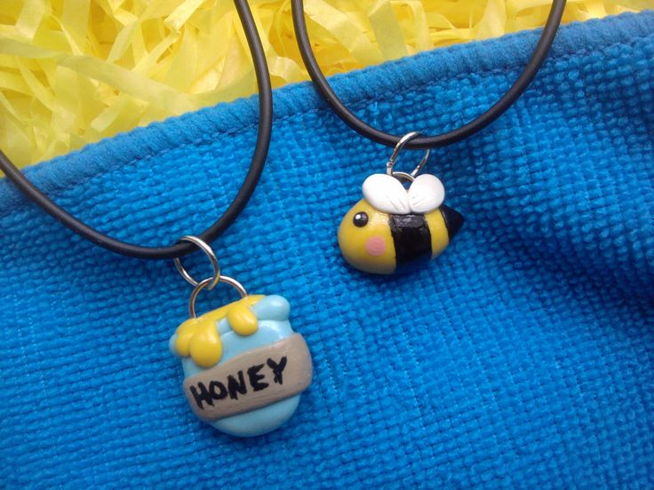 Bumblebee and Honey Pot Best Friend Necklaces Polymer Clay Charms