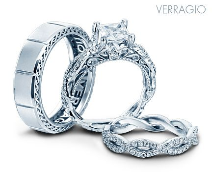 """Bridal Event This Weekend"" Instant Savings up to $1000 ~ Free Bridal Bouquet ~ Trade In Welcome ~ 12 Month Financing Option ~ Feb 6th & Feb 7th Shop in store or online ~ www.caprijewelersaz.com Verragio Bridal Trio with engagement ring and wedding rings from the Venetian Collection."