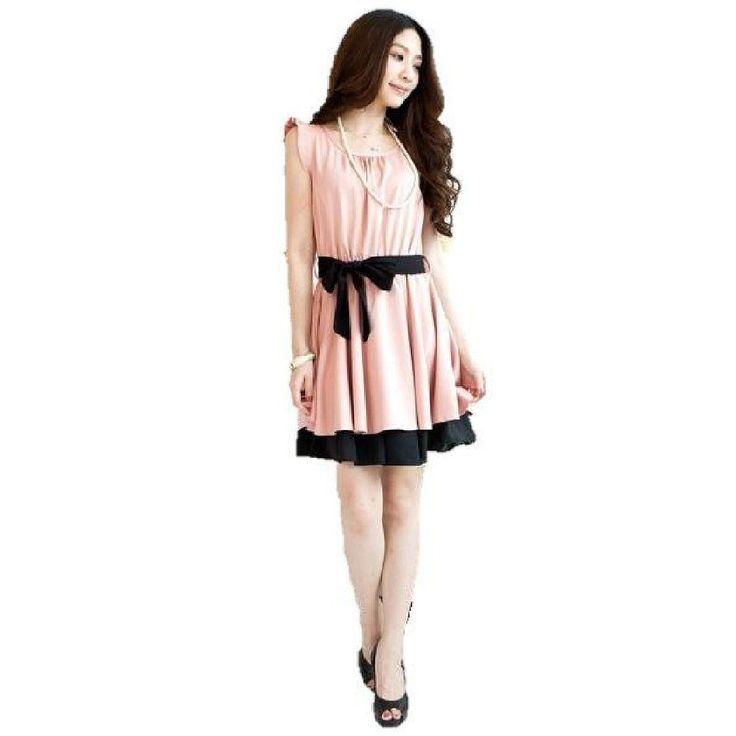 Amazon.co.jp: [ノーブランド品]パーティードレス ショートドレス 腰帯リボン ワンピース(ピンク): 服&ファッション小物通販