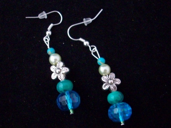 Silver Flower with Teal Crystal Earrings / by StampinMetalsomeMama,