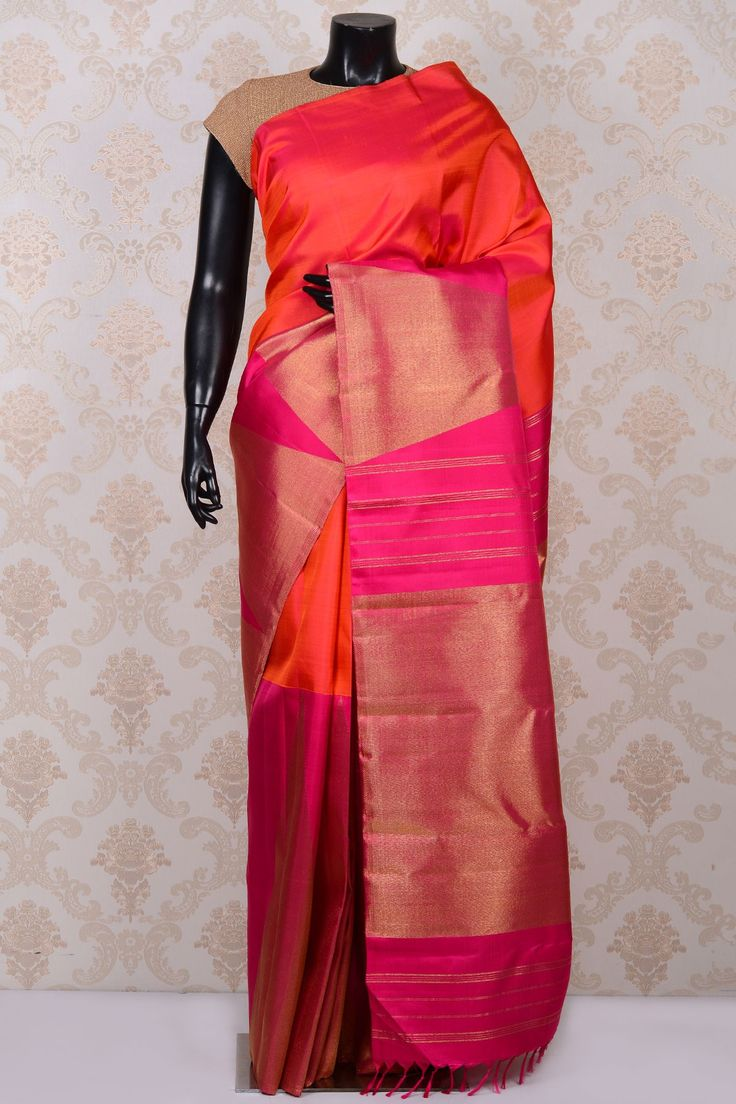 Orange radiant kanchipuram silk saree with hot pink pallu-SR18516 - Pure Kanchipuram Real Zari - PURE HANDLOOM SILK SAREE - Sarees