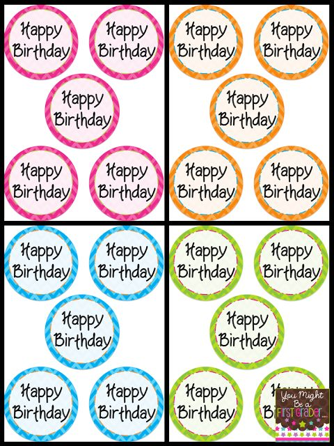 Free happy birthday tags for straws, glow sticks, pencils, pixy stix, etc