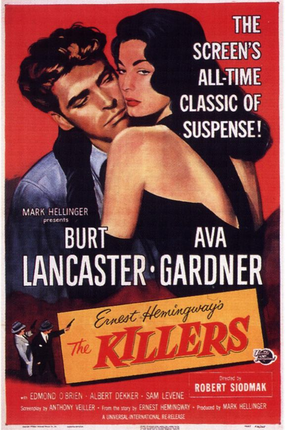 """3/22/14 11:10p Universal International Pictures """"The Killers"""" Burt Lancaster Film Debut as 'The Dumb Swede' and Ava Gardner 1946"""