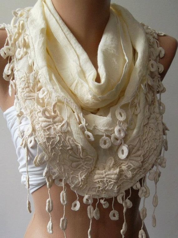 Beige  Elegance Shawl / Scarf with Lace Edge Linen Soft by womann,