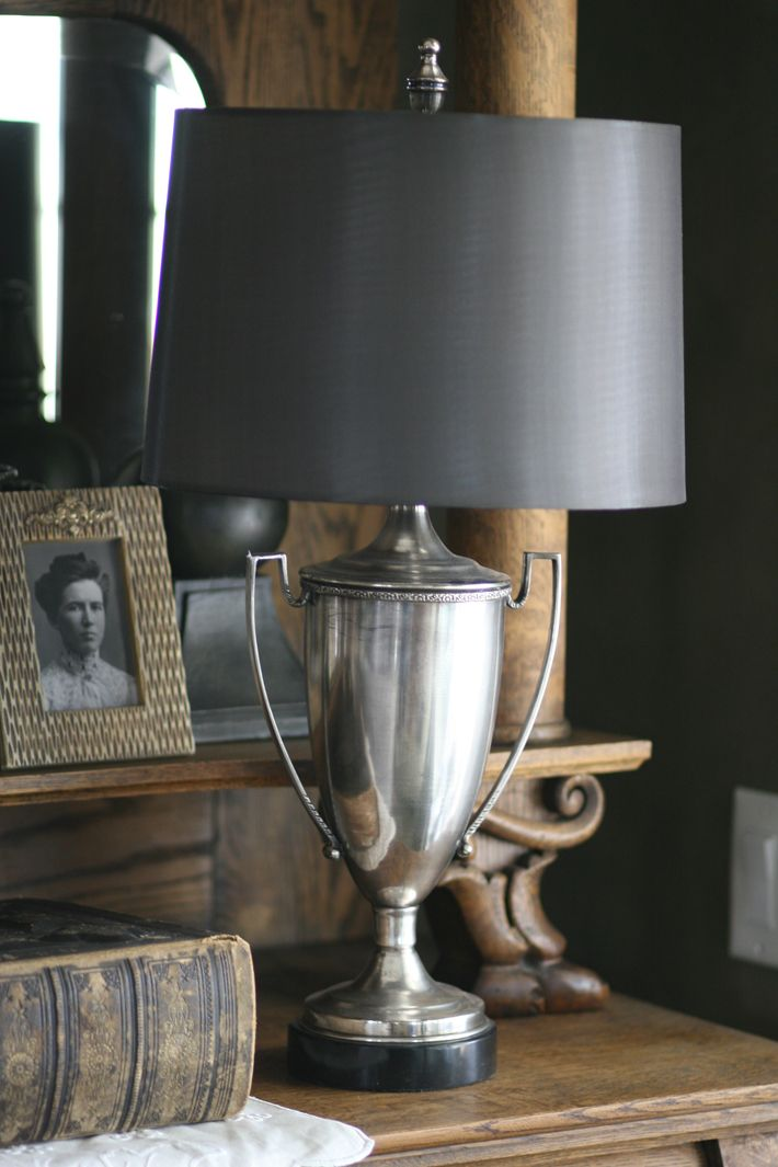 Lamp made from silver plate loving cup trophy