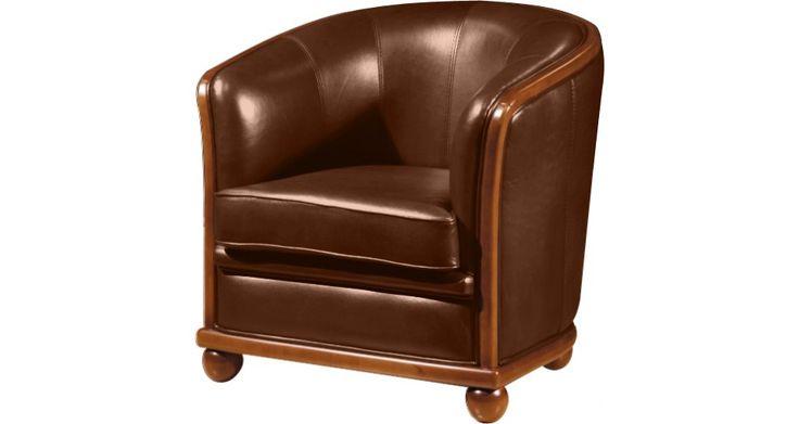 10770 - Fauteuil Cabriolet cuir basane chocolat