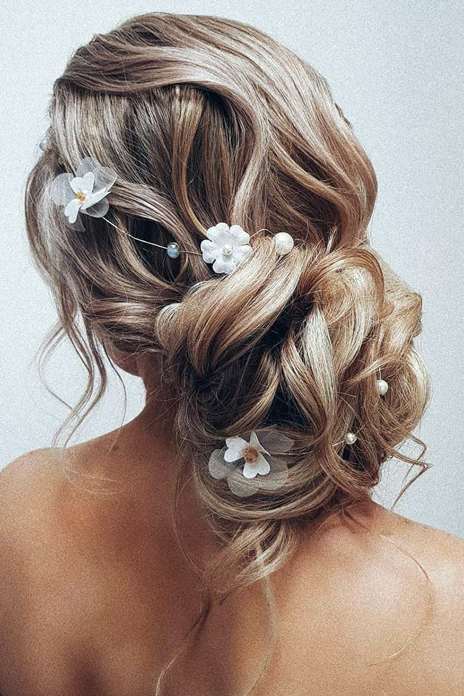 30 Bridesmaid Updos - Elegant And Chic Hairstyles bridesmaid updos volume low bun with curls and white flowers hairbyhannahtaylor #weddingforward #wed...