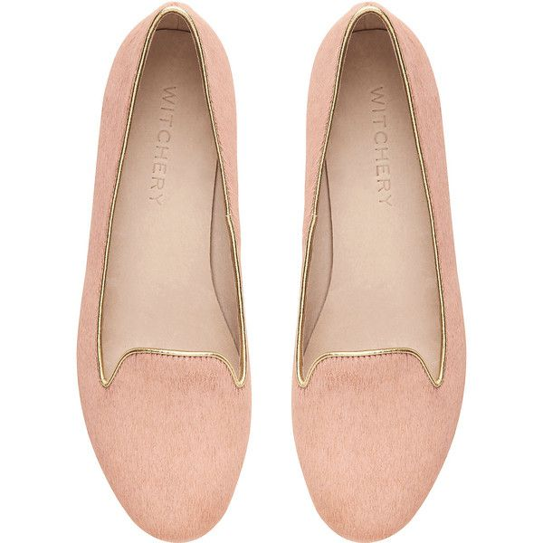 Witchery Blair Loafer ($30) ❤ liked on Polyvore featuring shoes, loafers, flats, zapatos, sapatos, salmon, loafer flats, flat loafer shoes, patent leather flats and flat shoes