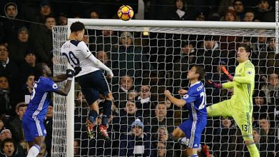 Dele Alli Put An End To Chelsea Run      Dele Alli scored twice to deny Chelsea an historicwin record and send Tottenham back into the top four with a 2-0 victory over their fierceLondon rivals. The midfielder nodded home two crosses from Christian Eriksen to stop the Blues winning for a top-flight record 14th consecutive game.  The league leaders went close through Eden Hazard in the first half and Diego Costa in the second but Spurs have cut Chelsea'slead at the top to five points and…
