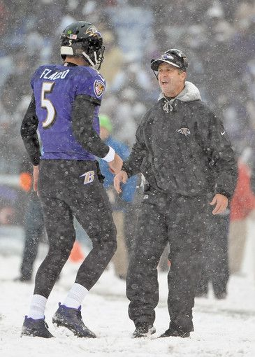 Ravens coach John Harbaugh, right, greets quarterback Joe Flacco on the sideline after a touchdown in the first quarter against the Vikings.