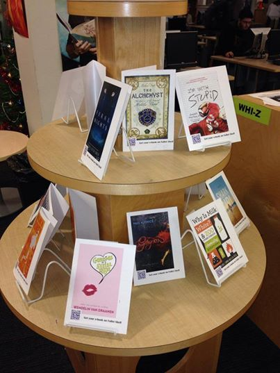 What a great way to remind students in the library that e-Books exist and provide them instant access to them (pic from WHS library).