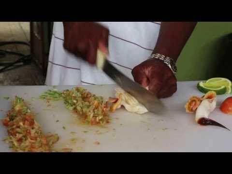 Freeport Bahamas Conch Salad at Billy Joes - YouTube