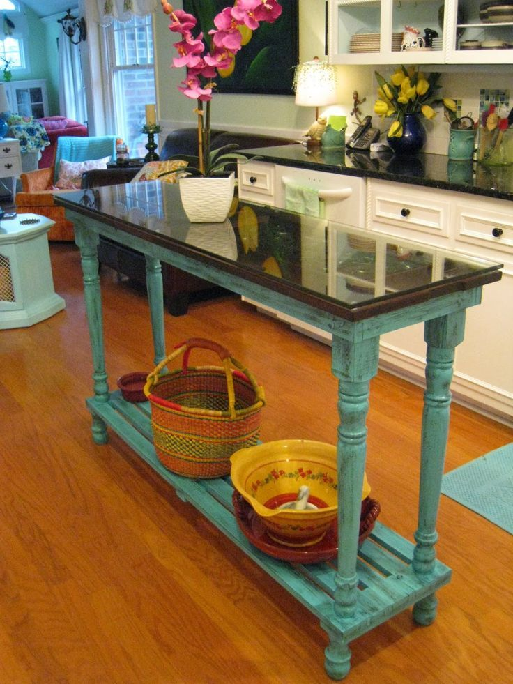 Repurposed for life turquoise piano island diy home for Slim kitchen table