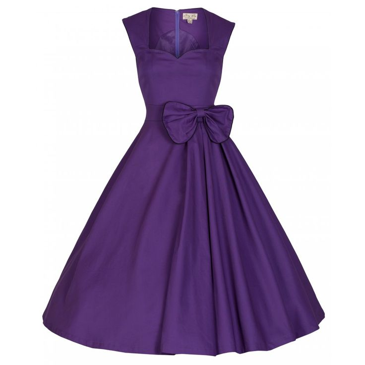 'Grace' Purple Cotton Swing DressLindy Bop UK Dress features: • Flattering sweetheart neckline • Wide flared skirt with box pleats to left side  • Fully lined • Fitted bodice • Concealed back zip  • Decorative bow on waistband  • Piping around the neckline, armholes and bow • Material Composition: 97% Cotton, 3% Elastane (Shell) 95% Polyester, 5% Elastane • Garment Care: Machine Wash