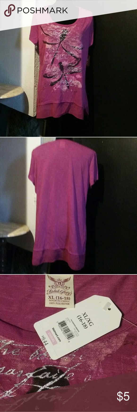 FADED GLORY WOMEN'S FASHION GRAPHIC TOP Short Sleeves. 100% Polyester  Size: XL (16-18) Color: Orchid Petal (Reddish Purple) Faded Glory Tops Tees - Short Sleeve