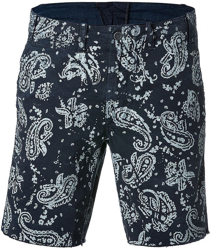$88, Navy Paisley Shorts: Polo Ralph Lauren Cotton Paisley Print Shorts. Sold by STYLEBOP.com. Click for more info: https://lookastic.com/men/shop_items/261138/redirect