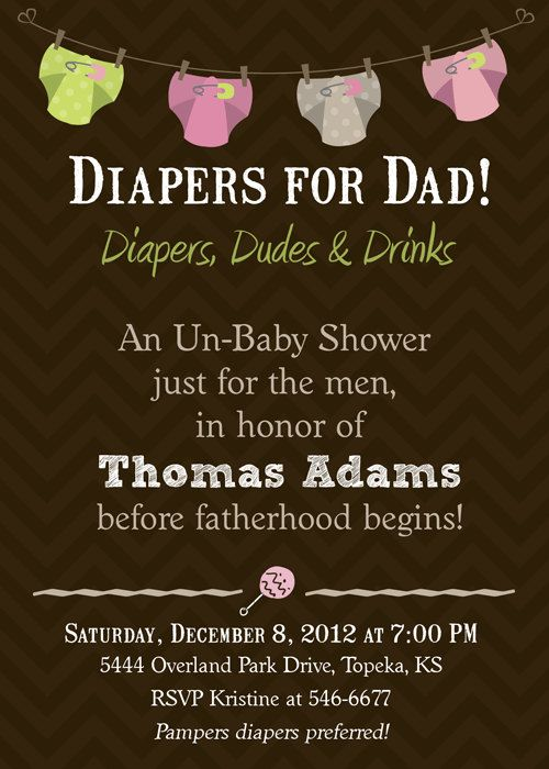 Diapers for Daddy Baby Shower Invitation - Printable. $17.00, via Etsy.... must do this!