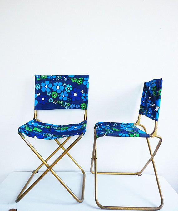 Deux Chaises Bleues Pliantes Vintage Lafuma Seventies Folding Chair Lafuma Chair Outdoor Chairs