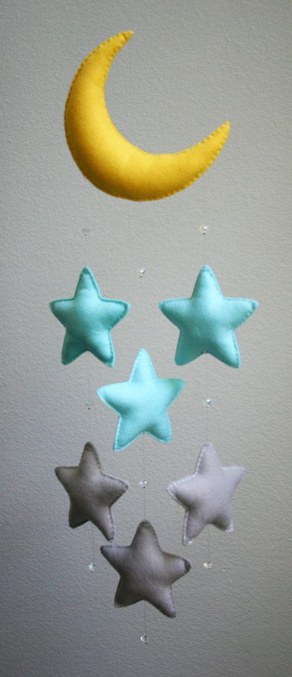Modern Baby - Light Blue and Gray Felt Moon Mobile with Falling Stars & Crystal Beads - Handmade - Made To Order - Nursery Decor                                                                                                                                                                                 Mais