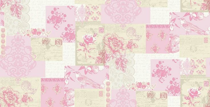 Love Letters (M0816) - Coloroll Wallpapers - Sweet delicate roses and delicate lace are all woven into the pretty patchwork. Shown here in Old rose pink - more colours are available. Please request a sample for true colour match.