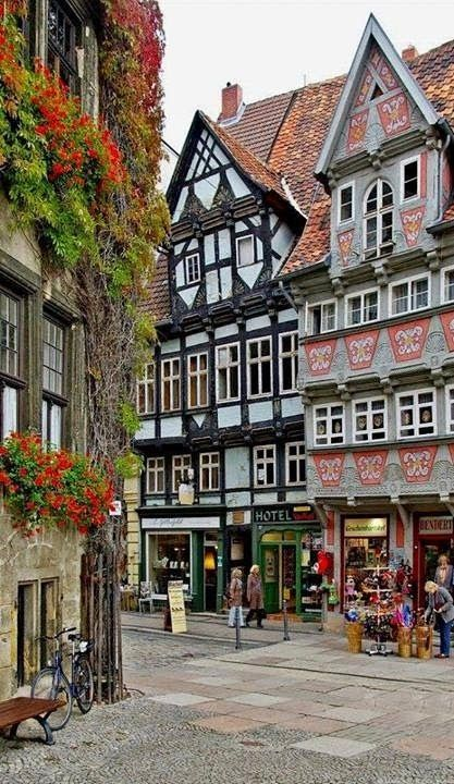Market Square Quedlinburg in Saxony Anhalt Germany Manfred Kehr