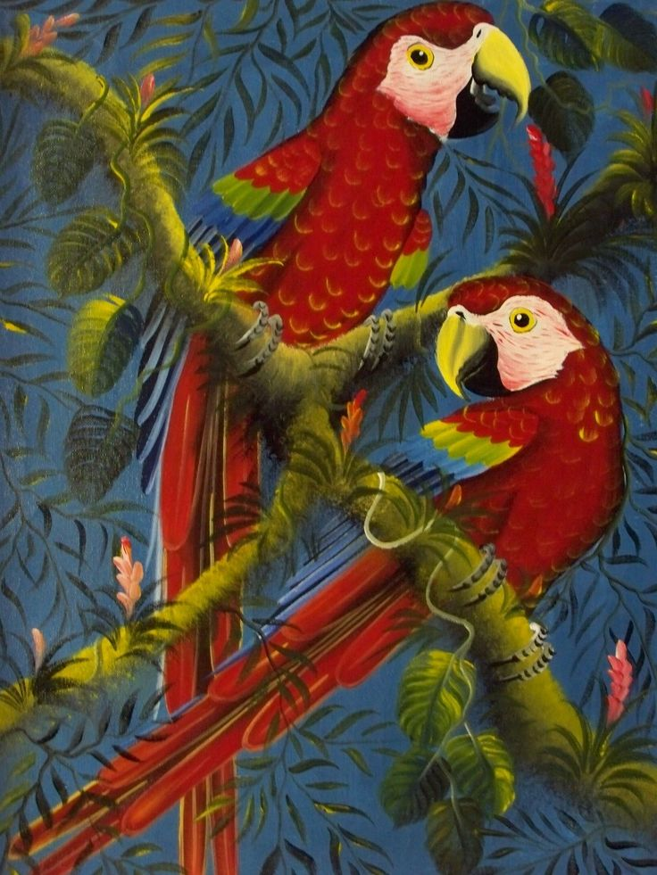 Rainforest Animal Painting Bird Macaw Parrot Panama Flower