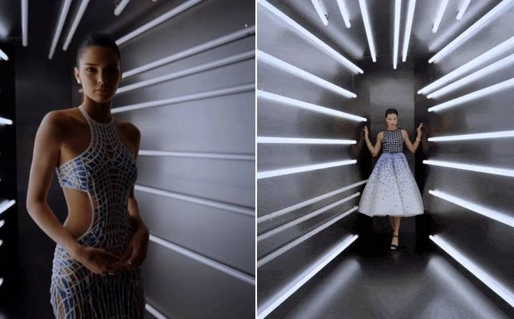 Video Portraits of Celebrities in a Neon Lights Tunnel at Vogue Met Gala