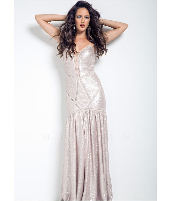 1920s style wedding reception gown dress -   Mignon Petal Pink Sequin Gown Prom 2015