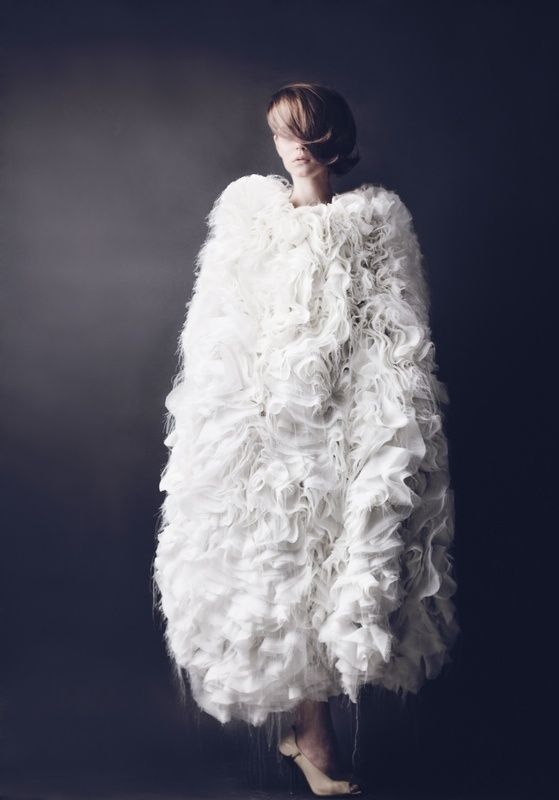 Fashion as Art - ruffle cocoon dress with sumptuous layers of delicate white fabric - 3D fashion; fabric manipulation; sculptural fashion // Kristina Rabova