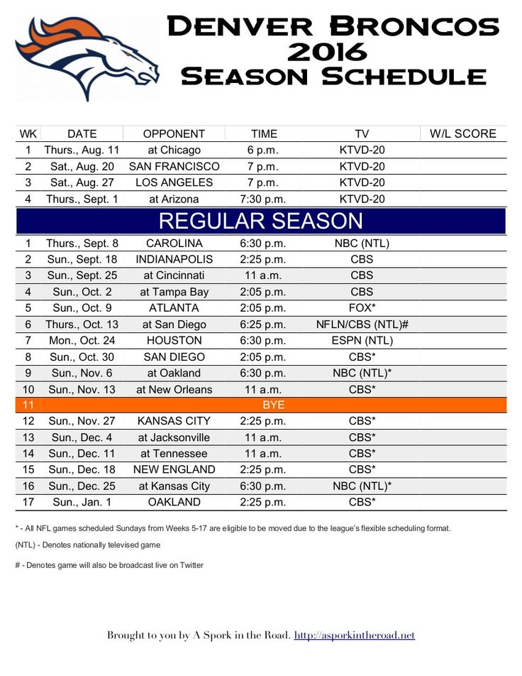 Free PRINTABLE Denver Broncos 2016 Schedule! Pin for later, or print now!