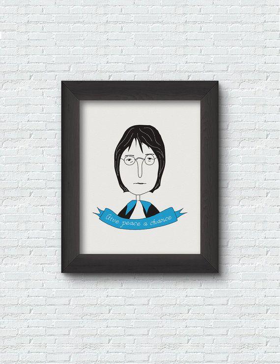 John Lennon Poster  Print Art  Illustration Design  by RooftopCo #EtsyGifts #etsy #artprints #posters #homedecor #wallart #decoration #etsygreekstreetteam