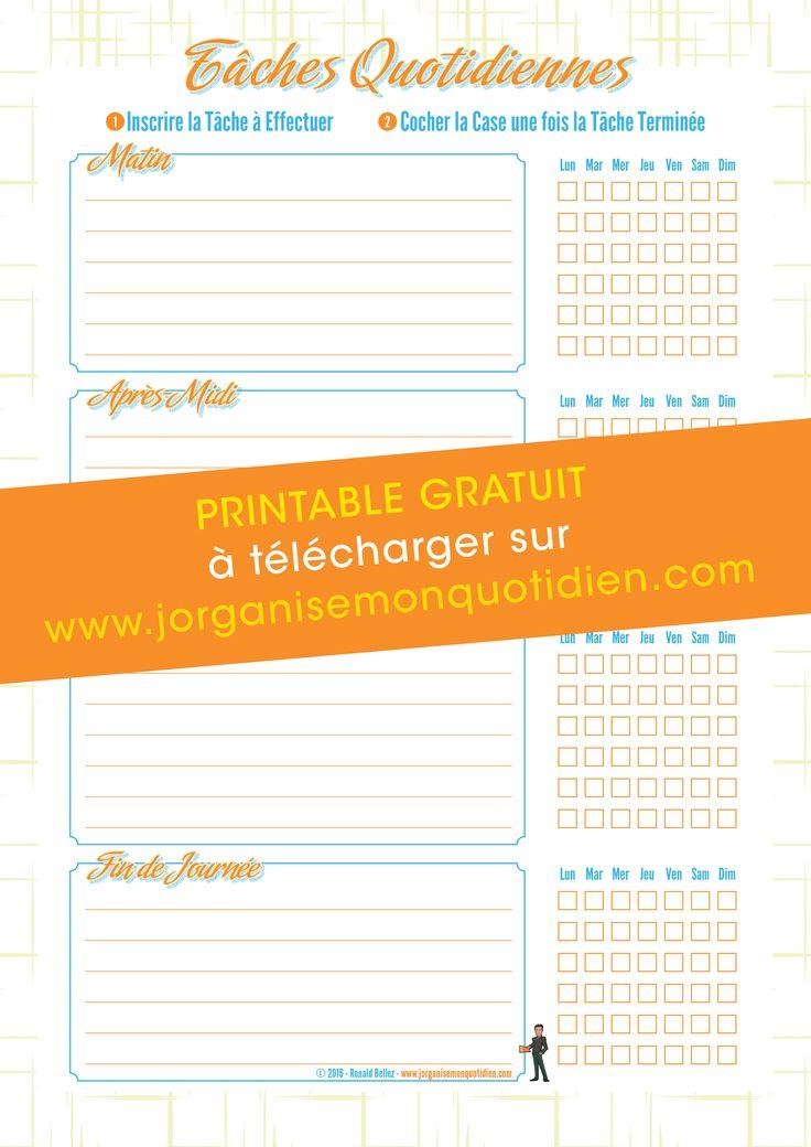 Checklist Tâches Ménagères - Organisation Maison - #printable # ...