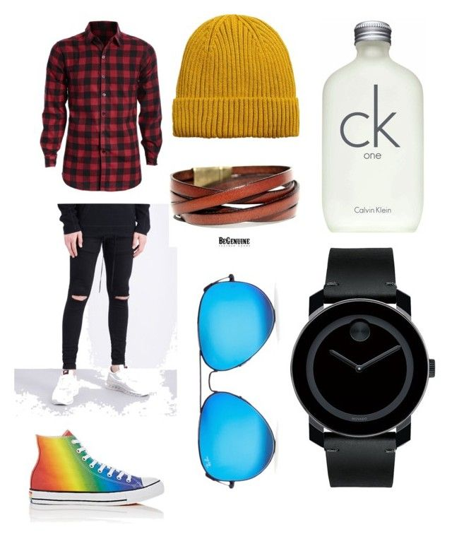 """""""Ryder's outfit"""" by izzybizzyboo on Polyvore featuring Hera, Converse, MANGO MAN, Calvin Klein, Movado and Ray-Ban"""