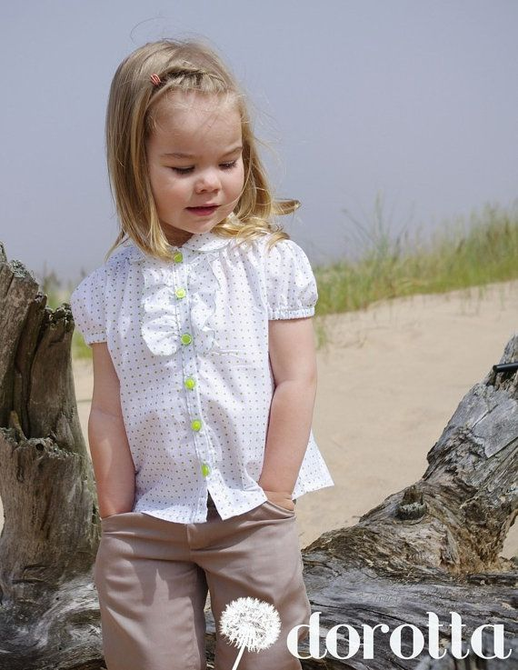Preppy toddler girl cotton blouse with ruffle, polka dots, white, lime green