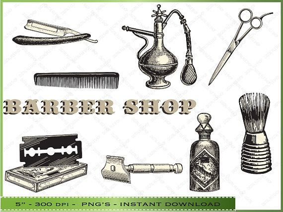 Vintage Barber Clipart Digital Barber ...